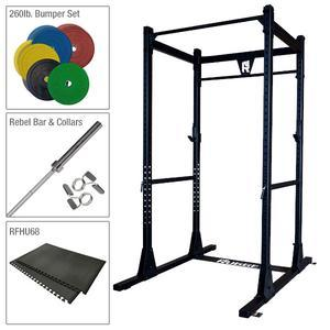 Rugged Power Rack Package with Bumper Set, Bar, and Platform Mat