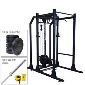 Rugged Power Rack Package with 260 lb. Hi-Temp Bumper Plate Set, Bar, and Muscle Clamps