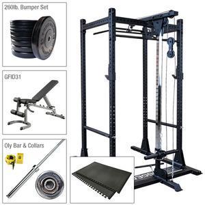 Rugged Power Rack Package with Lat, Bench, 260lb. Bumper  Set, Bar, Floor Mat