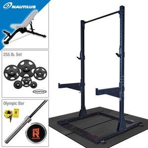 Rugged Half Rack Package with 255 lb. Hampton Plate Set, Nautilus Weight Bench, Oly Bar, Floor Mats