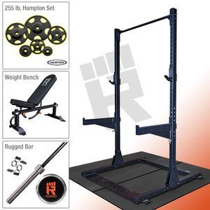Rugged Half Rack Package with 255 lb. Hampton Plate Set & Rugged Weight Bench (Y120HAMP255)