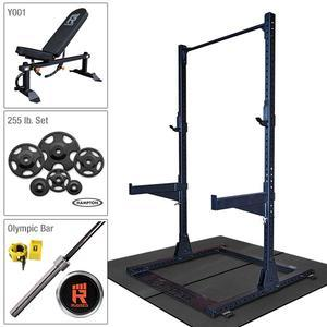 Rugged Half Rack Package with 255 lb. Hampton Plate Set, Weight Bench, Oly Bar, Floor Mats