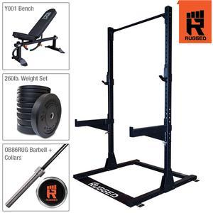 Rugged Half Rack Package with Bench, 260lb. Bumper Set, Olympic Bar