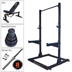 Rugged Half Rack Package with Bench, 300 lb. Deep Dish Plate Set