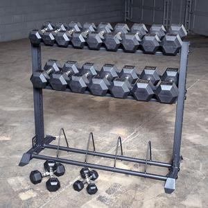 RUGGED 5-50 lb. Rubber Dumbbell Package with Y420 Combo Rack