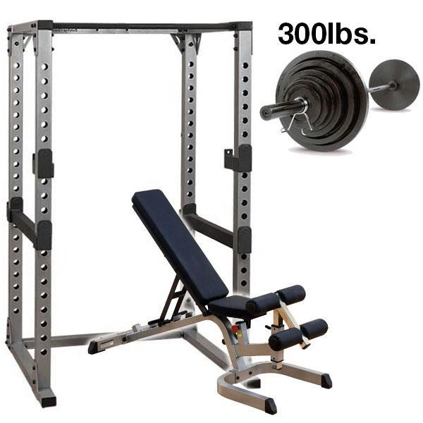 Body Solid Pro Multi Squat Rack With Fid Bench And 300 Lb: Body-Solid GPR378 Power Rack Package 300