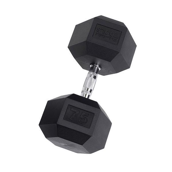 Rubber Coated Dumbbells 75 lb