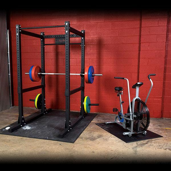Garage gym power rack fan bike package
