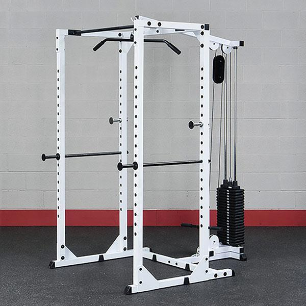 Power Rack With Weights: Body-Solid Power Rack And Lat Station Package
